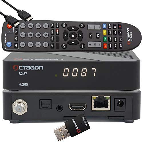 OCTAGON SX87 HD H.265 S2 + IP HEVC Set-Top Box - Receptor de Internet Smart TV, lector de tarjetas, reproductor multimedia, DLNA, YouTube, radio web, iOS y Android, PVR, 300Mbits WiFi + EasyMouse HDMI