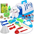 TOY Life Dr Vet Kit for Kids - Veterinarian Kit for Kids with Plush Puppy - Pet Vet Playset Contains Stuffed Dog and Accessories - Interactive Vet Clinic and Cage Pretend Play for Kids Girls Boys