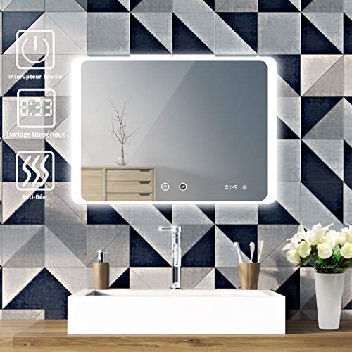 Sogoo® LED-spiegellamp, 80 x 60 cm, 24 W, voor badkamer, LED-spiegel, met anti-condensfunctie, badkamerspiegel, met geïntegreerde verlichting, koudwit, 6500 K L50 x H70cm avec anti buée Wit.