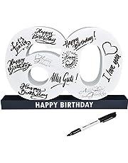CREOFANT Libro de visitas XL para 60 cumpleaños · Libro de visitas Happy Birthday · 37 cm x 24 cm · 60 cumpleaños · Idea de regalo para 18 cumpleaños