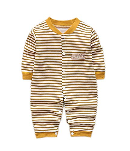 Toddler Babies Overalls Neutral Baby Girls Boys 0-12 Months Cotton Romper Clothes Unisex Snap Closure Onesies 0-3 Months Brown Stripes