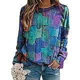 MARIJEE Mujeres Casual costura impresa oversize Tops sueltos túnica camisas señoras Casual Patchwork cuello redondo tejer suéter manga larga blusa jersey sudadera (azul, XXL)