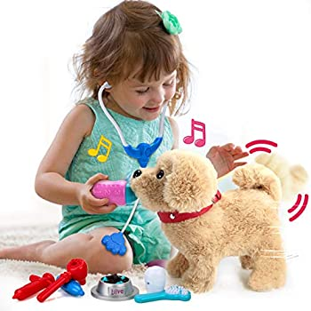 POLARDOR Electronic Pets with Songs Kids Girls Plush Interactive Dog Singing Walking Barking Tail Wagging Realistic Stuffed Puppy Animal Dog with Music Toys Gifts for 2 3 4 5 Years Girls