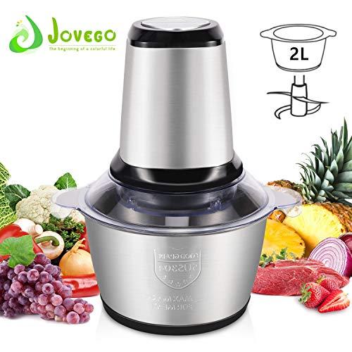 Jovego 2L Edelstahl Zerkleinerer, Zerkleinerer Elektrisch/Multi Zerkleinerer/Elektrisch Universalzerkleinerer Mit 2Geschwindigkeitsstufen,Mixer für Fleisch, Obst, Gemüse und Babynahrung