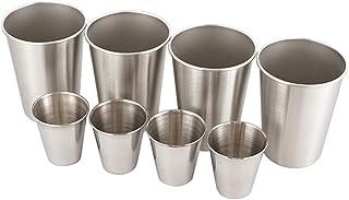 iplusmile スタッキングマグカップ スタッキングマグカップ セット コーヒーカップ 飲酒カップアウトドアカップ キャンプ用 アウトドア 旅行(アウトドアカップ8点セット収納袋-301-400 ml)