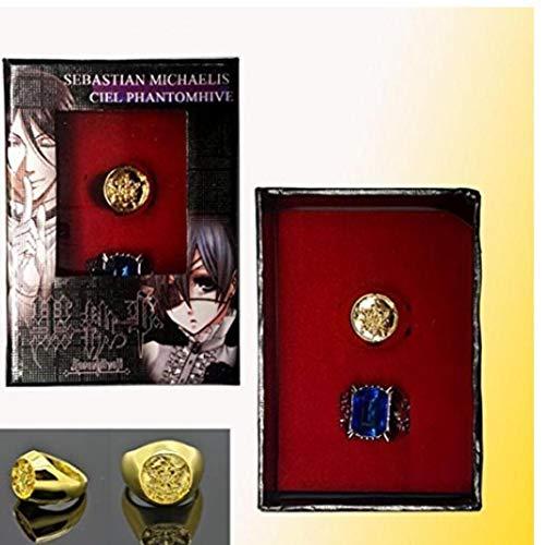 Onsinic Black Butler Ciel Phantomhive Cosplay Blau goldene Kristall Paare 2 Ring