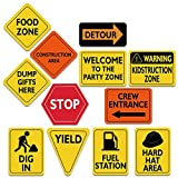 """WERNNSAI Construction Zone Party Decorations - 12 PCS Size 8"""" Traffic Sign Cutouts for Boys Kids Birthday Party Construction Theme Party Supplies"""