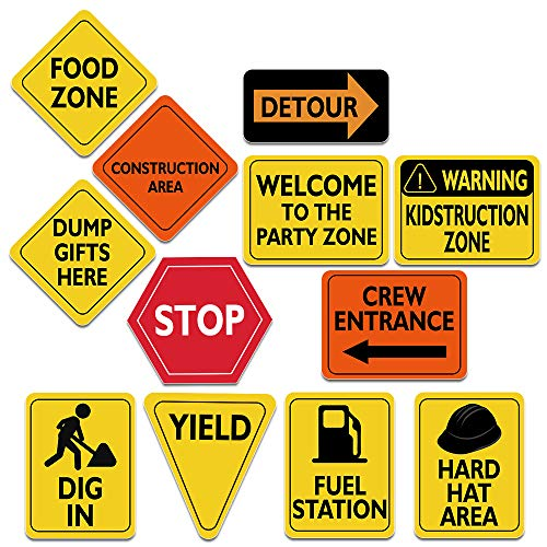"WERNNSAI Construction Zone Party Decorations - 12 PCS Size 8"" Traffic Sign Cutouts for Boys Kids Birthday Party Construction Theme Party Supplies"