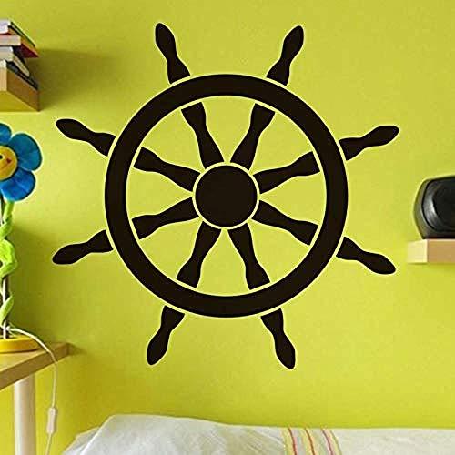 Pegatinas de vinilo para pared, diseño de timón de barco de navegación, playa, barco, rueda de barco, arte autoadhesivo, decoración del hogar, habitación de niños, 59 x 59 cm
