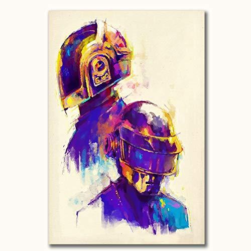 """Daft Punk Music Poster Daft Punk Retro Abstract Canvas Wall Art 12"""" x 18"""" Decor Art, Unframed"""