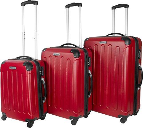 Scelta di colori. Valigia da viaggio 3pezzi set valigetta valigetta Set Trolley rigida, rosso, M/L/XL