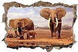 DesFoli Safari Elefanten Afrika Natur 3D-Optik Wandtattoo 70 x 105 cm Wandbild Sticker Aufkleber D058