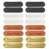 Juland Etiqueta de Cuero sintético para Ropa Hecha a Mano en Relieve Etiqueta embellecedora de Punto Accesorios para Pantalones Vaqueros Bolsos Zapatos Sombrero, 80 Unidades, 1,2 x 4,5 cm, 4 Colores