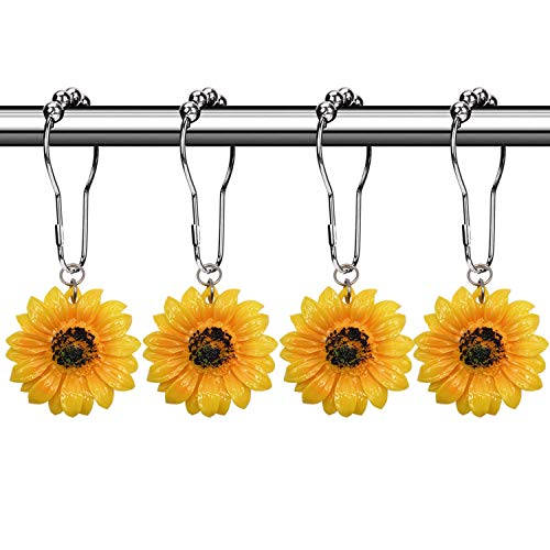 CHICTIE Set of 12 Sunflowers Shower Curtain Hooks Rings Decorative Bedroom Bathroom Rustproof Window Curtain Rod Hooks with Daisy Flower Resin Pendents (Yellow Sunflower)