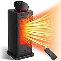 KLOUDIC 陶瓷加熱器 暖風機 超薄塔型 電風扇加熱器 電爐 可調節溫度功能 帶LED顯示屏 帶遙控器 擺動 3檔切換 1秒速暖 過熱保護 跌倒保護 記憶功能 腳下 暖氣器 脫衣所 辦公室 PSE認證 黑色
