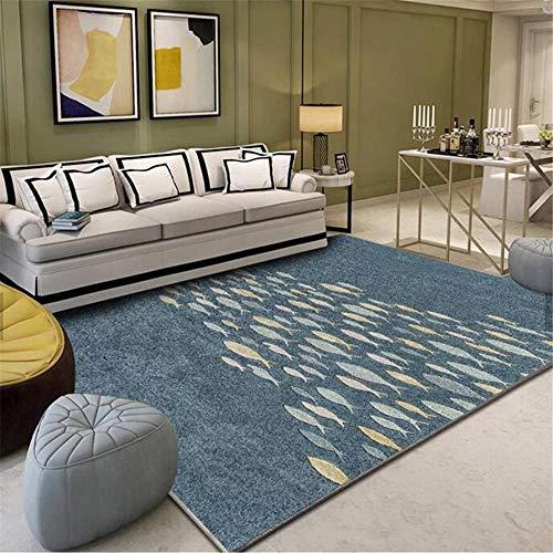 Alfombra Sofa Infantil alfombras Alfombra de la Sala de Estar con patrón de Peces de Graffiti Minimalista Blanco Amarillo Azul alfombras para Salon Alfombra Dormitorio Juvenil 160*200cm