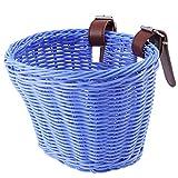 VORCOOL Cesta de bicicleta para niños Cesta de coche para niños Cesta de bicicleta Cesta tejida Cesta para niños Scooter Basket para niños (azul)