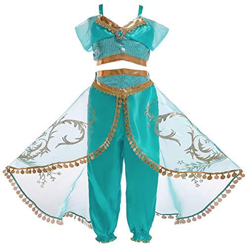 Monissy Niña Aladdin Princesa Jasmine Disfraz Tops Pantalones Manga Corta Traje Cosplay Actuación Carnaval Navidad Regalo Cumpleaños Danza Vientre Vestido de Princesa 3-10Años 110-150cm