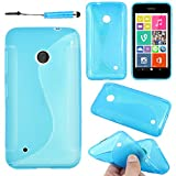 ebestStar - Coque Compatible avec Nokia Lumia 530 Etui Housse Silicone Gel TPU Souple Motif S-Line + Mini Stylet, Bleu [Appareil:...
