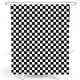 LIVETTY Duschvorhänge fürs Badezimmer, schwarz, geometrische schwarz-weiße Quadrate, kariert, Baddekoration, Polyester, wasserdicht, 183 x 183 cm, Haken enthalten