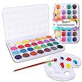 Colmanda Caja de Acuarela, 28 Colores Set de Pinturas de Acuarela Pigmento de Acuarelas Portatiles Acuarelas Profesionales para Principiantes y Profesionales