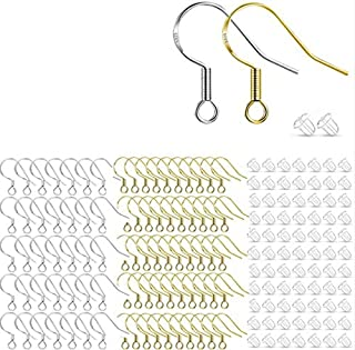 FRTUI 200 PCS/100 Pairs Silver & Gold Hypoallergenic Earring Hooks, French Fish Hook Ear Wires for DIY Jewelry Making