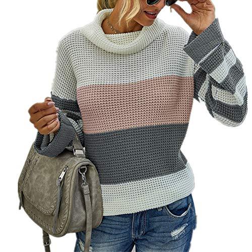 N\P Otoño Invierno de las Mujeres de Punto de Color de Coincidencia de Cuello Redondo Suelto Suéter Casual Tops Moda Cuadros Impreso Señoras