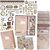PICKME's D.I.Y Vintage Scrapbook Kits for Adults & Kids, Hardcover Fold-Out Scrapbook Album Including Stationery Set with Gold Embossed Stickers, Ribbons & Journaling Supplies. (8.5' x 6', 75Pc)