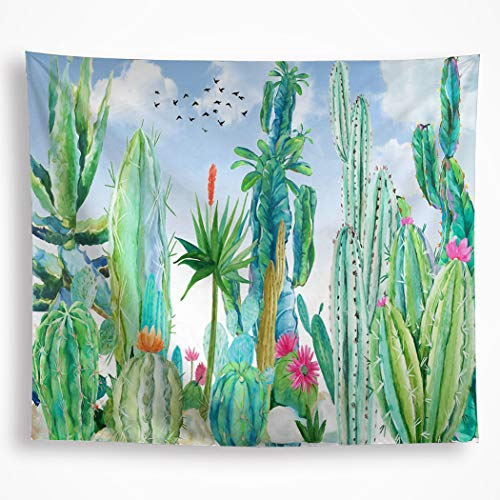 """Watercolor Cactus Tapestry Wall Hanging Mandala Green Tropical Cacti Plants Flowers with Blue Sky Birds Wall Art Blanket Decor for Bedroom Dorm 59""""x82.6"""""""