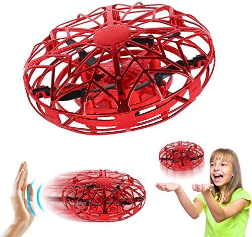 salipt Mini Drohne, UFO Flying Ball, Fliegender Ball Handsteuerung, Flugzeuge Spielzeug, Hubschrauber Quadrocopter mit 360°Rotierenden und LED-Leuchten, Geschenke für Jungen Mädchen,Rot (Rojo)