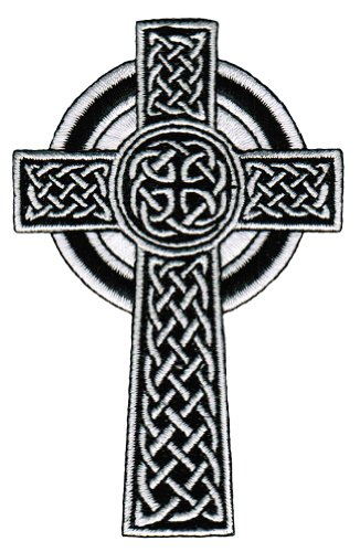 Celtic Cross Iron-On Patch White Embroidered Relgious Gaelic Irish Crucifix Goth