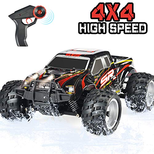 DOUBLE E RC Car 4WD High Speed Off Road Remote Control Truck 2.4GHz Head Lights 800mah Battery for Boy Girls Kids, Red