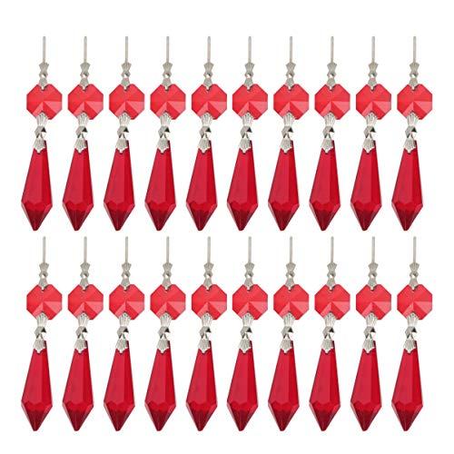 NUOBESTY Klarem Kristall Kronleuchter Eiszapfen Prismen Lampe Kandelaber Ersatzteile mit Achteck Perlen für Diy Kristall Vorhang Anhänger (Rot)