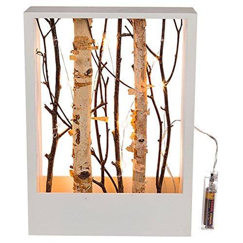 Holz Deko-Rahmen in Weiß mit Ästen in verschiedenen sowie 10 warmweißen LED im Inneren, batteriebetrieben mit 2 AA-Batterien, Maße (H x B x T): ca. 22 x 30 x 8 cm, aus Holz und Kunstoff für Innen.