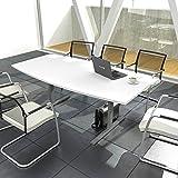 Weber Büroleben GmbH Easy Konferenztisch Bootsform 180x100 cm Weiß Besprechungstisch Tisch, Gestellfarbe:Silber