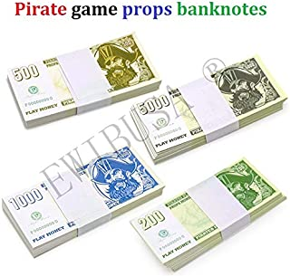 EWIBUSA Prop Money Halloween Pirate Coin 1 Bundle of 100pcs totaling $100,000 Paper Pirate Money Play Money Size: 4.2x2 in Double-Sided Printing - for Children's Toys ($ 1000)