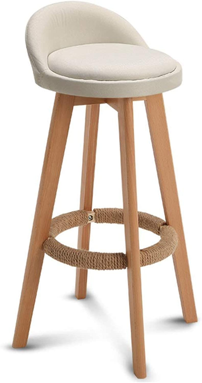 Wooden Chair Hemp Rope Mat Linen Cover Cushion Swivel Chair Seat Back Kitchen Dining Chair Bar HENGXIAO (color   White, Size   Seat Height 63cm)