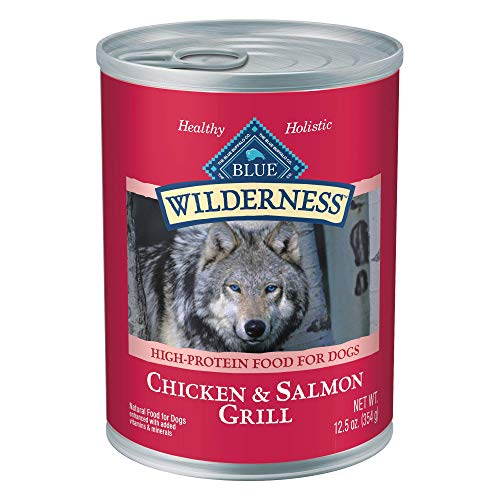 Blue Buffalo Wilderness High Protein, Natural Adult Wet Dog Food, Salmon & Chicken Grill 12.5-oz cans (Pack of 12)