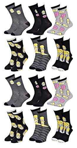 Disney Socks And Underwear Herren-Socken Simpsons aus Baumwolle, verschiedene Modelle mit Fotos je nach Verfügbarkeit, mehrfarbig Gr. One size, 12 Paar