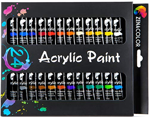 24 Tubos de Pintura Acrílica 12mL Zenacolor Set para lienzos y manualidades