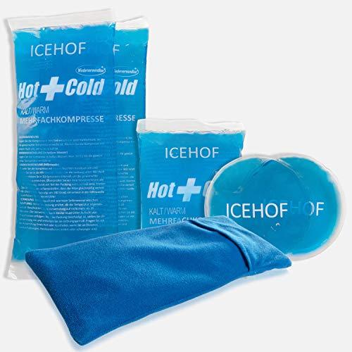 ICEHOF Kühlpads (5x) mit Vlies-Hülle - Kuschelweich, lange Kühldauer, verschiedene Größen Family-SET, Kühlpack Gel Kühlakku Kühlgel Kühlkompresse Kälte-Kompresse Kühlkompressen Kühlbeutel Eisbeutel