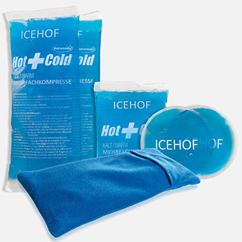 ICEHOF bolsa gel frio (5x) con funda - Suave, larga duración de refrigeración para lesiones, varios tamaños, compresas de frío, bolsa de hielo reutilizable