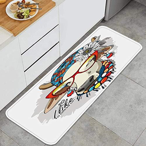 Alfombra de Cocina Antideslizante,Vector Vaca Turbante Flor Arco Pendientes,Estera de Cocina Felpudos Decorativo Alfombra para Dormitorio Baño Pasillo 45 x 120cm