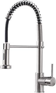 Kitchen Faucet with Pull Down Sprayer Lead-Free Single Handle Spring Kitchen Sink Faucet, Brushed Nickel Kitchen Faucet 866081SN