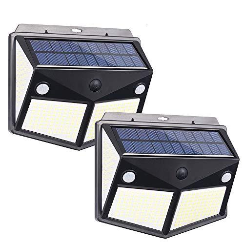 XCSOURCE センサーライト ソーラーライト 260LED 4面発光 3つ知能モード 太陽光発電 防水 人感センサー自動点灯 ガーデンライト 屋外ウォールライト 壁掛け/庭先/表玄関/駐車場などで活躍 ペンダントライト 防犯ライト 2個入り JPV03