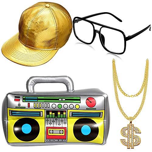 4 Stück Set Hip-Hop Kostüm Set, Hip Hop Kostüm Golden Baseball Cap,Schaffen Sie Eine Hip-Hop-Atmosphäre Für Partys, Rap-Konzerte und andere outdoor-Aktivitäten