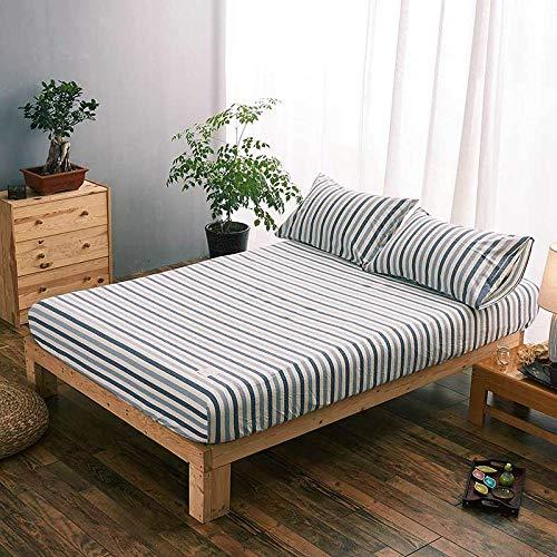 N / A Protector de colchón,Sábana de una Pieza de algodón sábana Ajustable Funda de Polvo Funda de colchón Fina Funda de Soporte de Cama Completa-Striped_Blue_180cmx200 + 25cm