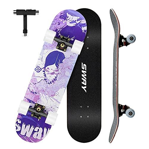 VOMI Skateboard Completo, Patineta para Principiantes, 79 x 20,5 cm 7 Capas Monopatín de Madera de Arce Tabla Doble Patada, Skateboard para Niñas Niños Adolescentes Adultos