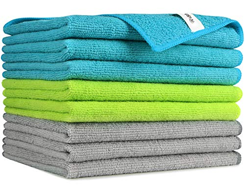 AIDEA Microfiber Cleaning Cloths-8PK, Softer Highly Absorbent, Lint Free Streak Free for House,...