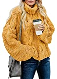 Dokotoo Women Chunky Turtleneck Balloon Long Sleeve Sweaters Pullover Jumpers